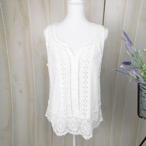 Meadow Rue White Lacey Tank Top